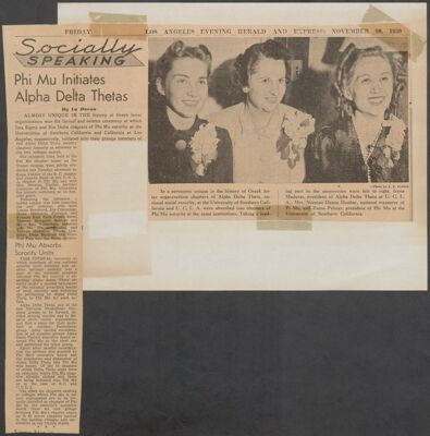 Alpha Delta Theta Merger, 1939 Image