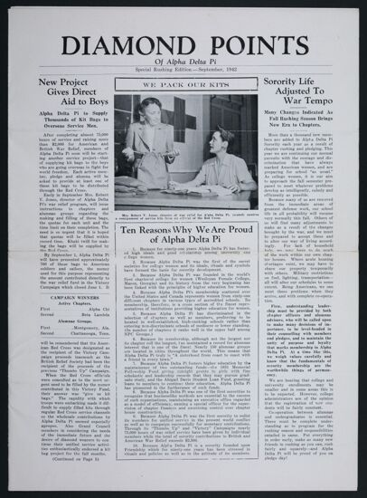 Diamond Points of Alpha Delta Pi, September 1942
