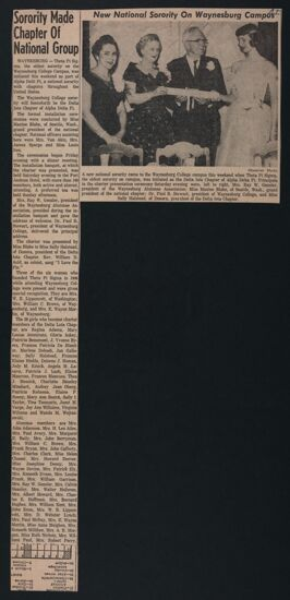 Sorority Made Chapter of National Group Newspaper Clipping, c. 1958