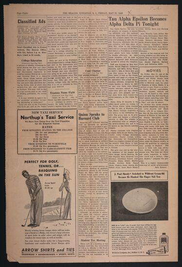 Tau Alpha Epsilon Becomes Alpha Delta Pi Tonight Newspaper Clipping, May 21, 1948