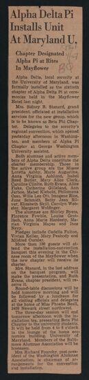 Alpha Delta Pi Installs Unit at Maryland U. Newspaper Clipping, April 27, 1940