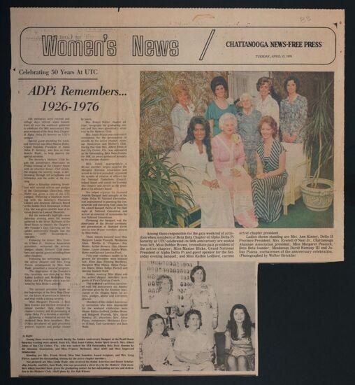 ADPi Remembers, 1926-1976: Celebrating 50 Years at UTC Newspaper Clipping, April 13, 1976