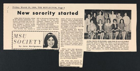 New Sorority Started Newspaper Clipping, March 18, 1966