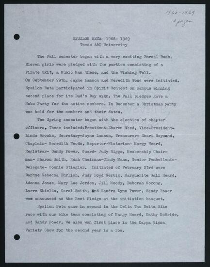 Epsilon Beta Chapter Report, 1968-1969