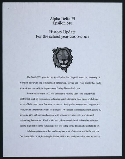 Epsilon Mu History Update, 2000-2001
