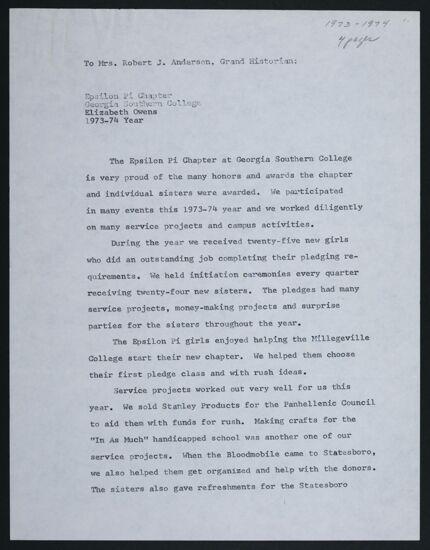 Epsilon Pi Chapter Report, 1973-1974