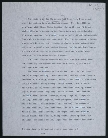 Eta Mu Chapter Report, 1988
