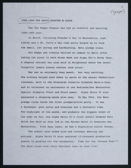 Eta Kappa Chapter Report, 1988-1989