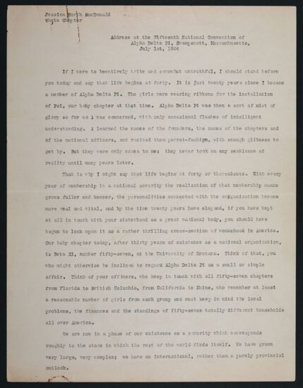 Address at the Fifteenth National Convention of Alpha Delta Pi, July 1, 1934
