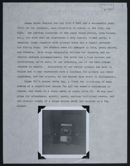 Gamma Alpha Chapter Report, 1960-1961