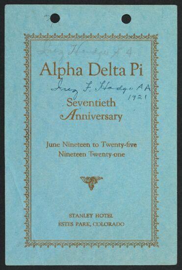Alpha Delta Pi Seventieth Anniversary Convention Program, June 19-25, 1921