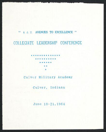 Collegiate Leadership Conference Program, June 18-21, 1964