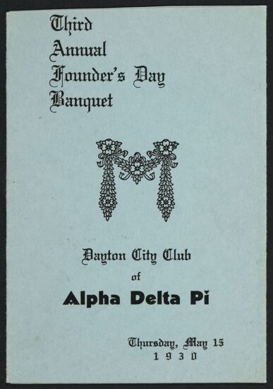Dayton City Club Third Annual Founders' Day Banquet Program, May 15, 1930
