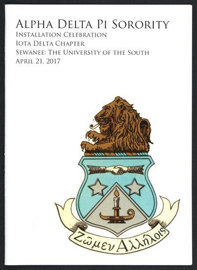 Alpha Delta Pi Sorority Installation Celebration: Iota Delta Chapter Program, April 21, 2017