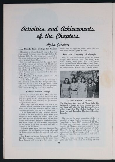 Activities and Achievements of the Chapters: Alpha Province, Spring 1943