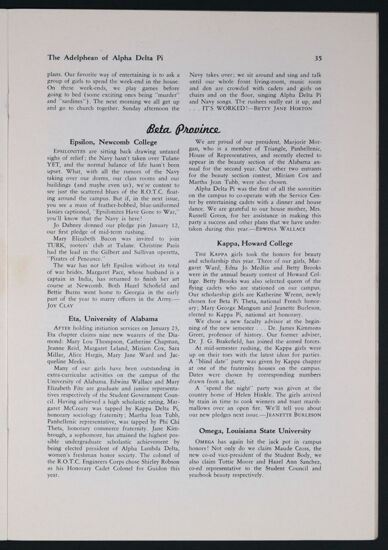 Activities and Achievements of the Chapters: Beta Province, Spring 1943