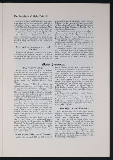 Activities and Achievements of the Chapters: Gamma Province, Spring 1943