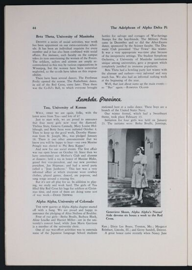 Activities and Achievements of the Chapters: Kappa Province, Spring 1943