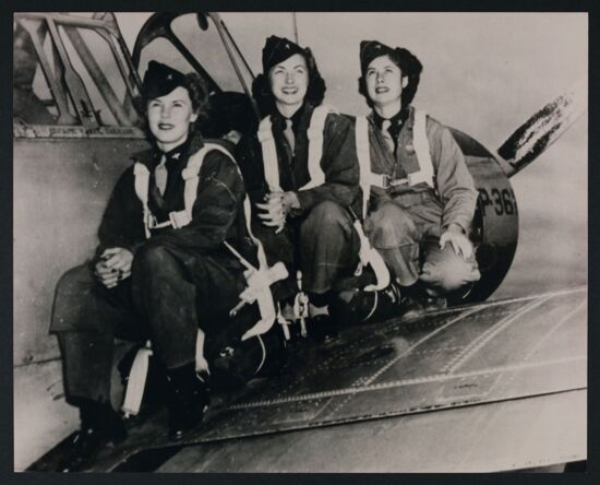 Micky Axton and Two Army Air Force Test Pilots Reproduction Photograph, c. 1942