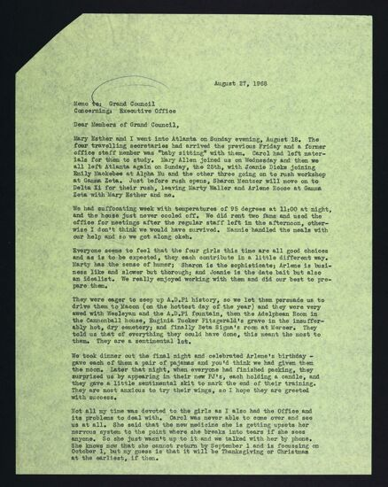 Maxine Blake to Grand Council Letter, August 27, 1968