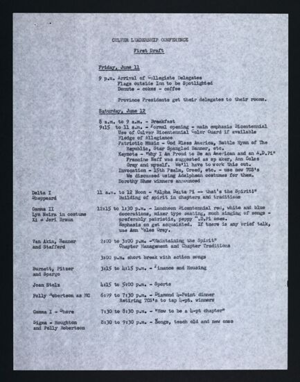 Culver Leadership Conference Draft Schedule, February 3, 1976