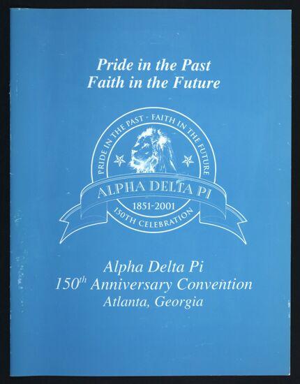 Alpha Delta Pi 150th Anniversary Convention Program, June 28-July 2, 2001