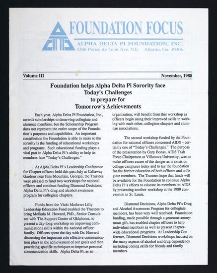 Foundation Focus, Vol. III, November 1988