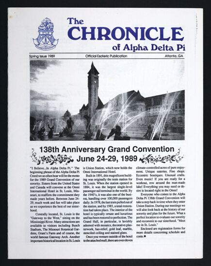 The Chronicle of Alpha Delta Pi, Spring 1989