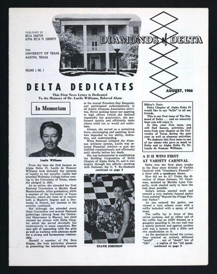 Diamonds of Delta, Vol. 1, No. 1, August 1966