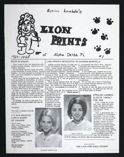 Epsilon Lambda's Lion Prints, No. 1, 1967-1968