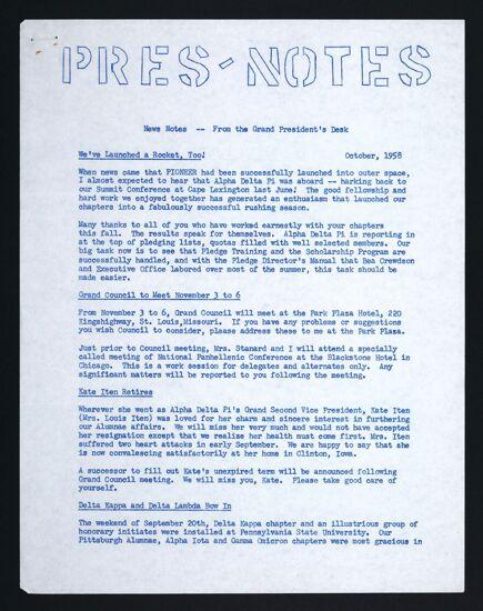 Pres-Notes, October 1958