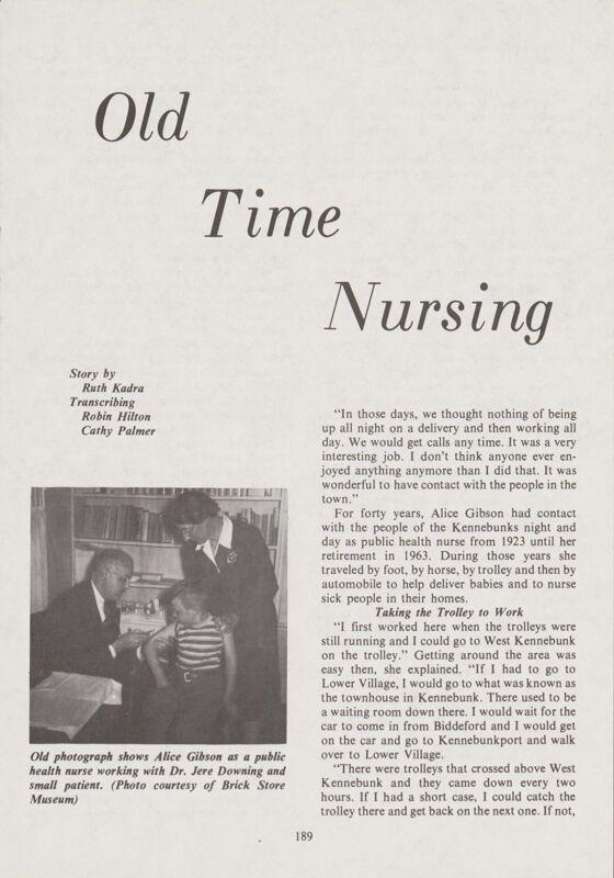 Old Time Nursing