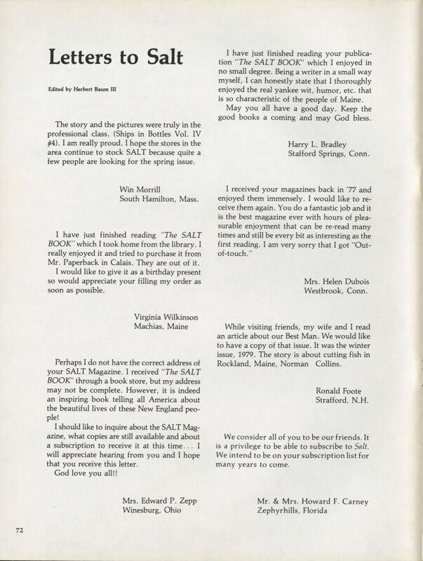 August 1979 Salt Magazine, Letters