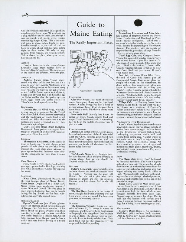 June 1987 Salt Magazine, Eating in Maine