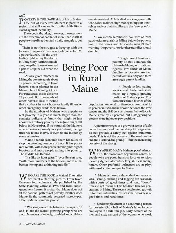 Being Poor in Rural Maine