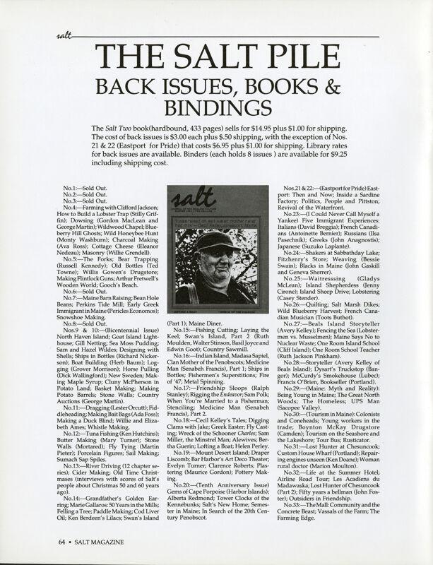 December 1988 Salt Magazine, Back Issues & Books