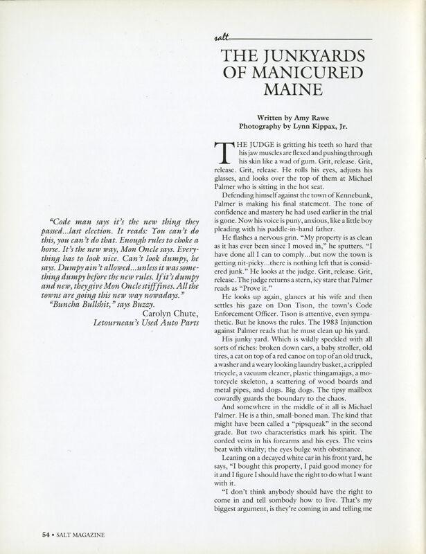 The Junkyards of Manicured Maine