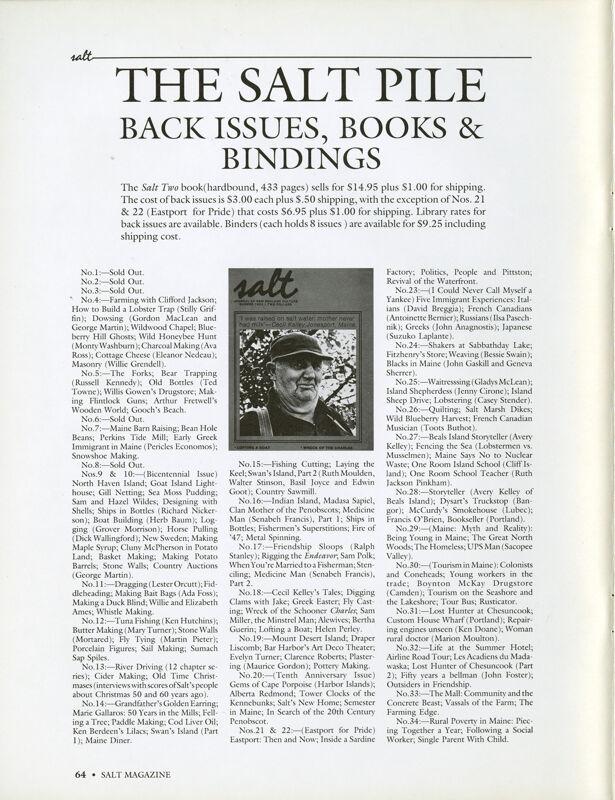 May 1989 Salt Magazine, Back Issues & Books