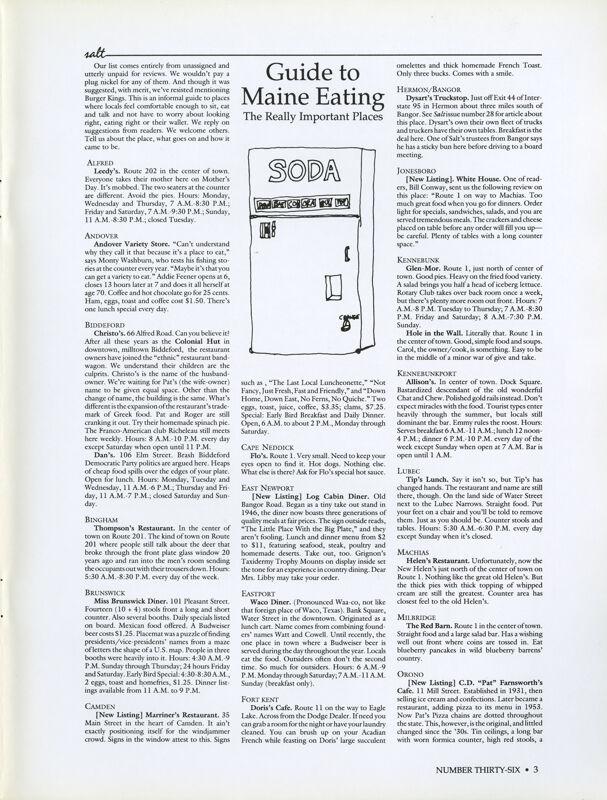 August 1989 Salt Magazine, Eating in Maine
