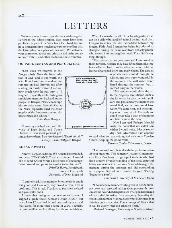 August 1989 Salt Magazine, Letters