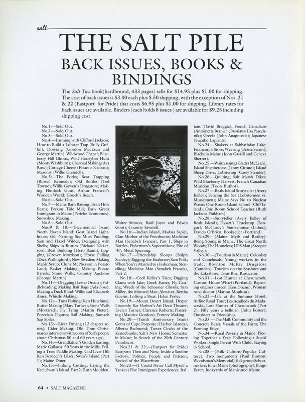 August 1989 Salt Magazine, Back Issues & Books
