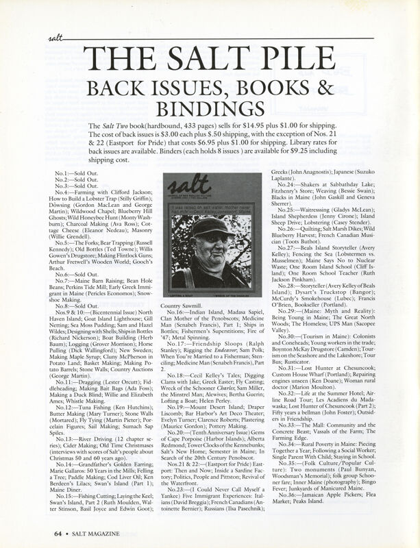 November 1989 Salt Magazine, Back Issues & Books