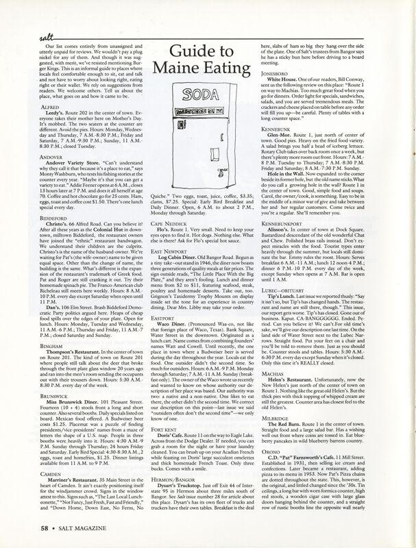 April 1990 Salt Magazine, Eating in Maine