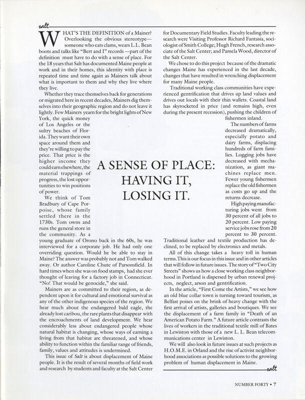 A Sense of Place: Having It, Losing It