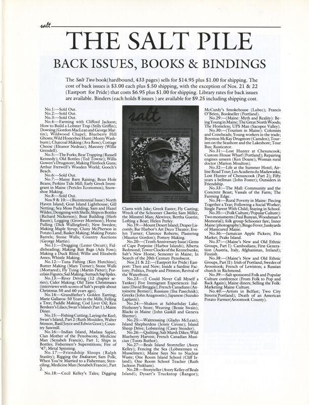 November 1991 Salt Magazine, Back Issues & Books