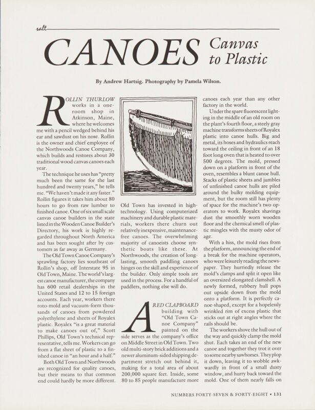 Canoes- Canvas to Plastic