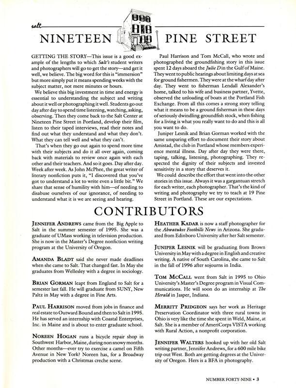 April 1997 Salt Magazine, Contributors