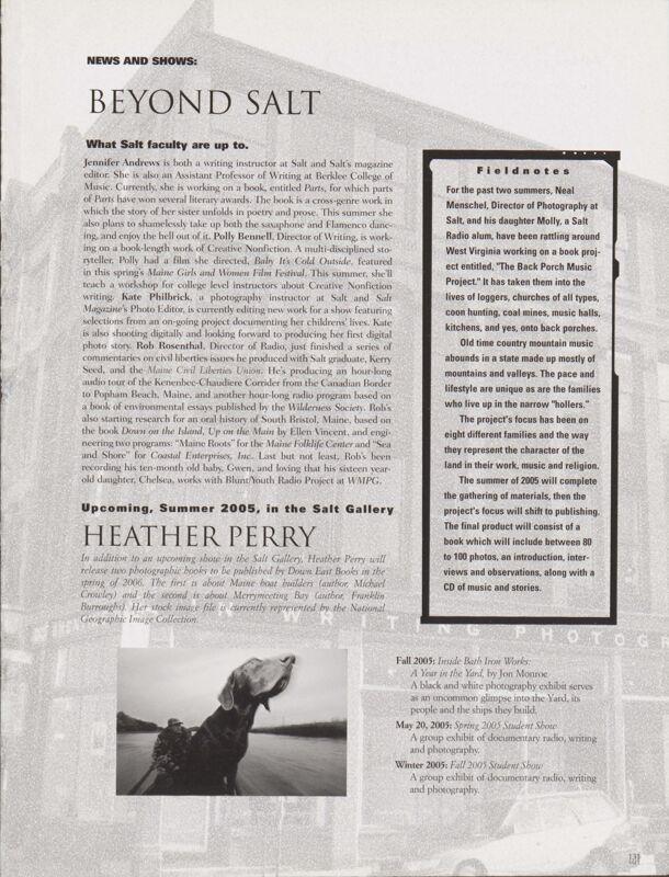 Salt 2004-2005 Magazine, News and Shows