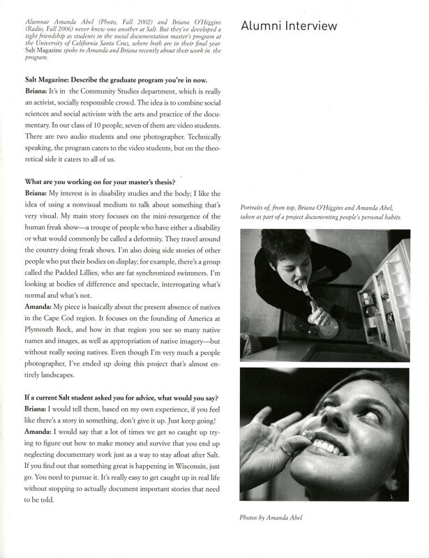 Salt 2007-2008 Magazine, Inside Back Cover
