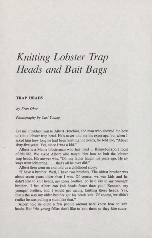 Kniting Lobster Trap Heads and Bait Bags